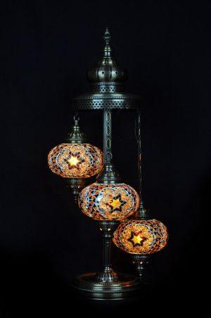 Orientalische Stehlampe Braun 3 kugeln/ Türkische Stehlampe Braun 3 kugeln - orientalplaza.de