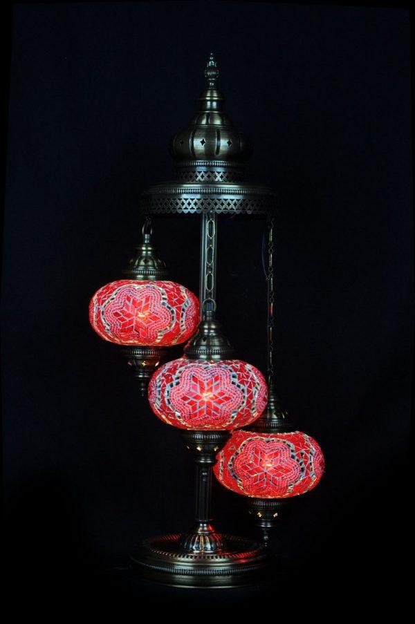 Orientalische Stehlampe Rot 3 kugeln/ Türkische Stehlampe Rot 3 kugeln - orientalplaza.de