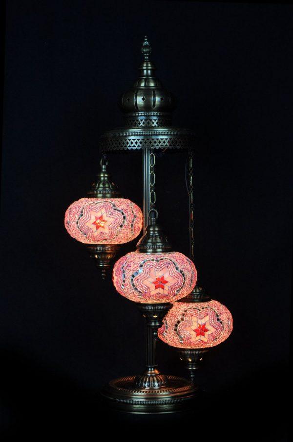 Orientalische Stehlampe Rosa 3 kugeln/ Türkische Stehlampe Rosa 3 kugeln - orientalplaza.de