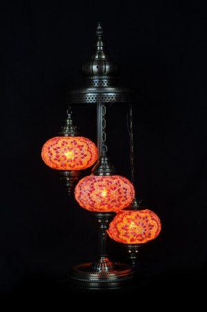 Orientalische Stehlampe Orange 3 kugeln/ Türkische Stehlampe Orange 3 kugeln - orientalplaza.de