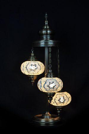 Orientalische Stehlampe Weiss 3 kugeln/ Türkische Stehlampe Weiss 3 kugeln - orientalplaza.de