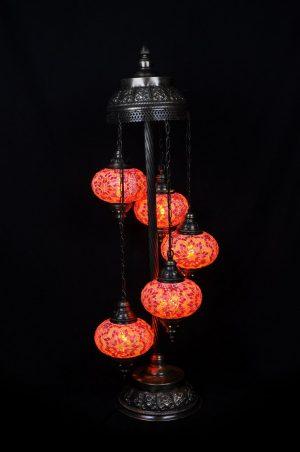 Orientalische Stehlampe Orange 5 kugeln/ Türkische Stehlampe Orange 5 kugeln - orientalplaza.de