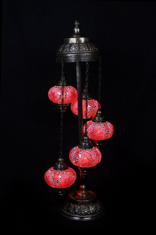 Orientalische Stehlampe Rot 5 kugeln/ Türkische Stehlampe Rot 5 kugeln - orientalplaza.de