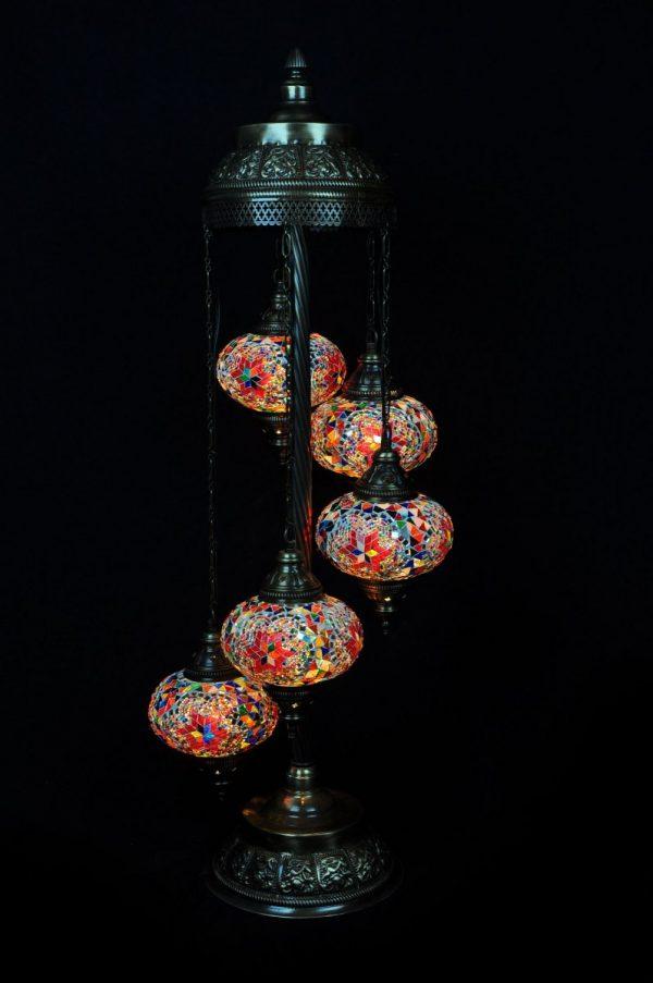 Orientalische Stehlampe Multicolour 5 kugeln/ Türkische Stehlampe Multicolour 5 kugeln - orientalplaza.de