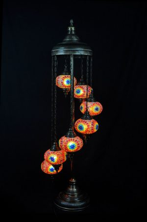 Orientalische Stehlampe Orange 7 kugeln/ Türkische Stehlampe Orange 7 kugeln - orientalplaza.de